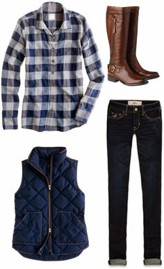 blue plaid shirt, navy puffer vest, dark jeans, and tall brown boots