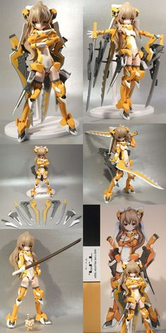 """Busou Shinki is a line of female action figures produced by Konami from The figures, called MMS (""""Multi Moveable System"""") figures, are highly … Dummy Doll, Frame Arms Girl, Tv Tropes, Anime Toys, Anime Figurines, Gundam, Cyberpunk, Anime Characters, Character Design"""
