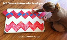 Use envelopes to make a chevron pattern. (For Crafts)