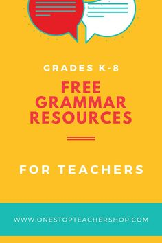 A collection of FREE Grammar Resources for teachers! These printable and digital Grammar Practice activities are perfect for daily review, language arts centers, distance learning, homework, morning work, and more! Be sure to download them all! Available for 1st Grade, 2nd, 3rd, 4th, 5th, 6th, 7th, and 8th. Grammar Games, Grammar Practice, Grammar Activities, Teaching Grammar, Grammar Review, Small Group Activities, Middle School Teachers, Word Study, Morning Work
