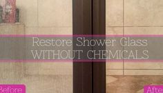 Are your shower doors covered in hard water spots? Mine WERE but aren't any more! See my chemical free before & after. Window In Shower, Glass Shower Doors, Sliding Glass Door, House Cleaning Tips, Diy Cleaning Products, Cleaning Hacks, Cleaning Blinds, Spring Cleaning, Hard Water Spots