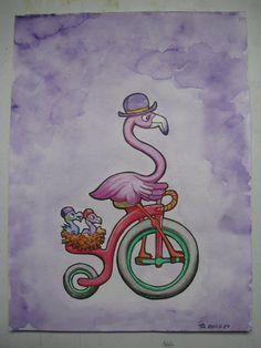 Flamingo Family on a Bike Ride.