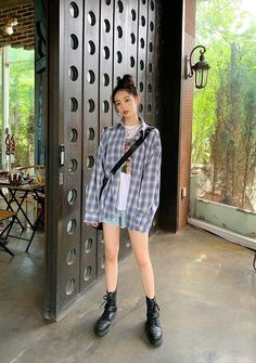 Gradient Check Shirt - I know you wanna kiss me. Thank you for visiting CHUU. Korean Summer Outfits, Korean Casual Outfits, Korean Outfit Street Styles, Cute Casual Outfits, Korean Girl Fashion, Korean Street Fashion, Korea Fashion, Ulzzang Fashion Summer, Checked Shirt Outfit