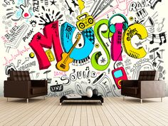 Music Doodle wall mural room setting                                                                                                                                                                                 More