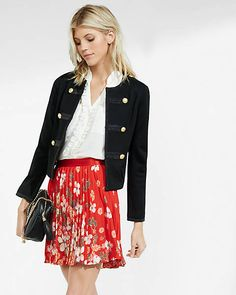Red Cherry Blossom Floral Pleated Mini Skirt from EXPRESS