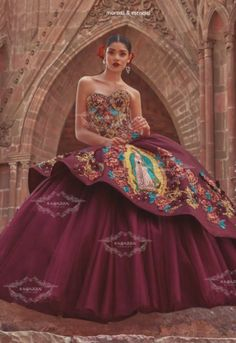 Mexican Theme Dresses, Quince Dresses Mexican, Mexican Quinceanera Dresses, Quinceanera Themes, Mariachi Quinceanera Dress, Burgundy Quinceanera Dresses, Quinceanera Planning, Charro Dresses, Vestido Charro