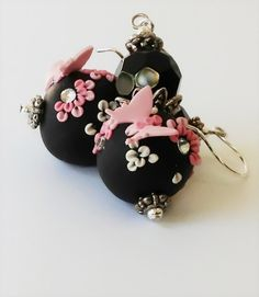 Black and Pink Polymer Clay Boho Earrings with Black Crystals Pink Butterflies Silver Wire Hooks Handmade Applique. $35.00, via Etsy.