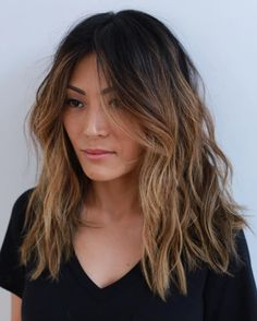 mid-length layered chestnut brown hair