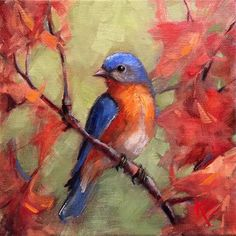 "Daily Paintworks - ""Eastern Blue bird in Autumn"" - Original Fine Art for Sale - © Krista Eaton"