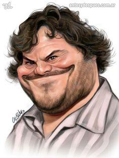 Caricatura de Jack Black realizada por Marco Calcinaro