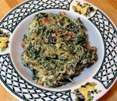 Best. Spinach. Dish. Ever.  creamed spinach with caramelized onions and bacon