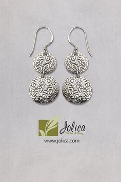 These hammered silver earrings were handmade in Nepal. #FairTrade https://www.jolica.com