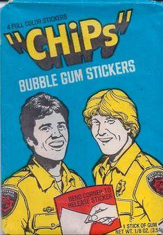 CHiPs (1977-83, NBC) starring Erik Estrada & Larry Wilcox — Bubble Gum Stickers