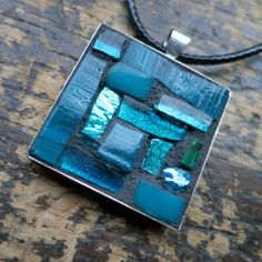 Teal Blue Mosaic Pendant by nutmegdesigns on Etsy