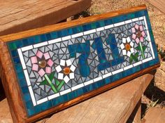 Mosaic Outdoor Sign / Plaque Name or Address by BeadedGlass Mosaic Vase, Mosaic Tiles, Mosaics, Owl Mosaic, Cement Tiles, Wall Tiles, Mosaic Crafts, Mosaic Projects, Mosaic Designs