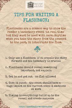 Novel Writing Tips - Flashbacks Creative Writing Tips, Book Writing Tips, Writing Words, Fiction Writing, Writing Quotes, Writing Resources, Writing Help, Writing Ideas, Writing Prompts