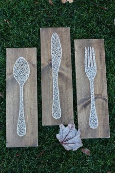 Fork Knife and Spoon String Art Made to Order by GirlwithGlue Nail Art nail n thread art Nail String Art, String Crafts, Resin Crafts, Arte Linear, Diy And Crafts, Arts And Crafts, String Art Patterns, Ideias Diy, Thread Art