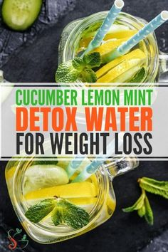 How to Use Cucumber Lemon Mint Detox Water for Weight Loss - Cucumber lemon mint water recipe and benefits and how to use this detox water for weight loss and flat belly. This infused water is a great summer drink! You are in the right place about detox Mint Water Benefits, Cucumber Water Benefits, Lemon Health Benefits, Lemon Cucumber Mint Water, Mint Detox Water, Cucumber Detox Water, Detox Kur, Lemon Detox, Infused Water Recipes