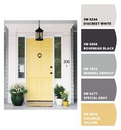 Great front door color, goes great with the grey shingles and white trim- Benjamin Moore hawthorne yellow Yellow Front Doors, Painted Front Doors, Best Front Door Colors, Front Door Decor, Entryway Decor, Foyer, Home Upgrades, Home Design, Design Ideas