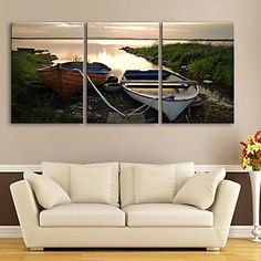 E-HOME® Stretched Canvas Art Stop The Ship Shore Decoration Painting Set of 3 – USD $ 76.99