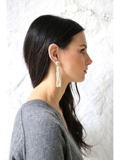 -Silver beaded, hand woven, Tassel Earrings -Measures: 3 Inches Long -Gold Ear Stud -Feather weight
