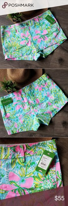 Lilly Pulitzer shorts New with tags.   Keep cool in these super cute Lilly Pulitzer Walsh shorts in Coconut Jungle print.  A must have for this summer!  100% cotton.  Smoke free and pet free home. Lilly Pulitzer Shorts