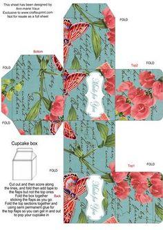 DTeal Colour Sweet Peas Single Cupcake Presentation Box on Craftsuprint - Add To Basket!