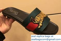 d26a8053bb3c5 Gucci Green Red Web Men s Slide Sandals with Tiger 2018