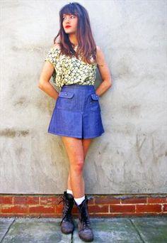 70s denim mini skirt #vintage #fashion