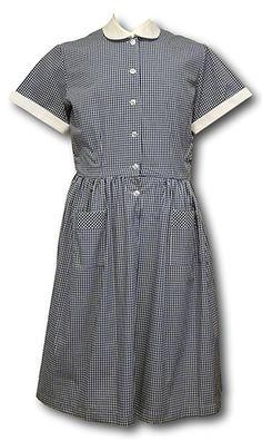 Traditional Navy Blue Gingham Summer Dress
