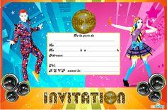 Carte invitation anniversaire gratuite Just Dance à imprimer. Des hits, du fun pour un anniversaire mémorable, défiez vos amis et votre famille sur le danc
