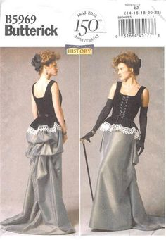 BUTTERICK 5969 - FROM 2013 - UNCUT - MISSES CORSET AND SKIRT