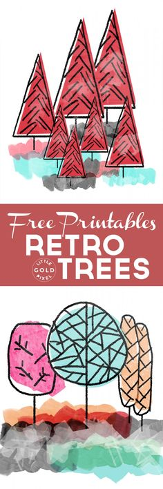 In which I offer two awesome retro trees free printables for you to hang on your gallery walls or to pin in your cubicle or to add to your Christmas mantle.
