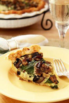 Caramelized Garlic, Spinach and Mushroom Tart from Creative-Culinary.com