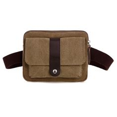 "U-TIMES Unisex Casual Style Multi-pocket Canvas Waist Pack Runner Belt Pouch(Khaki). External dimensions: 22cm x 5cm x 16cm / 8.66"" x 1.97"" x 6.3"" ( L x W x H ) Note:manual measurement with 1-2 cm error. The waist bag consists of one main zipper compartment,one front flap pocket with snap fastener closure. Made of high density canvas fabric.The waist belt is removable and the length of it is adjustable. Ideal option for outdoor sports (hiking,camping,climbing,cycling etc) and travel and..."