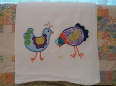 Embroidered Applique Chickens Flour Sack by DMYEmbroideryDesign, $6.00