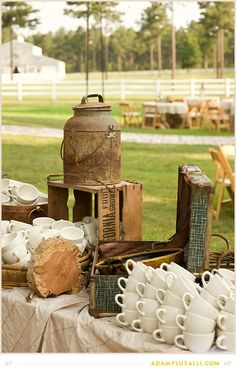 Crates and Jugs used to decorate the coffee or tea table