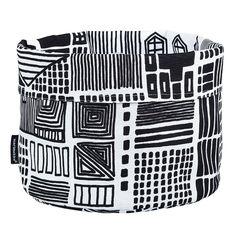 Onnea etsimässä canvas basket by Marimekko. Print design by Maija Louekari.