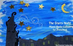 Night Sky for #PlayfulPreschool: Starry Night by Van Gogh - Mixed Media Collage - so fun!