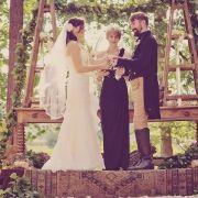 DRESS: Modern Trousseau 'Carla'  VEIL: Cheryl King Couture 'Allure'  serenbe-vintage-wedding-25