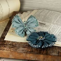 Elegance  Teal and Navy blue Fabric Flower and by Hennytj on Etsy