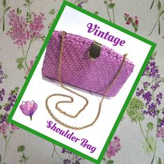 "VINTAGE PVC Wicker Shoulder Bag - Orchid Vintage brightly colored orchid PVC wicker shoulder bag in excellent condition.  Measures 8 1/2"" wide x 5 1/2"" high with a depth of 2 3/4"".  Gold tone shoulder chain is 32"" long.  Perfect for summer!  Bags Shoulder Bags"