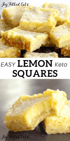 Keto Lemon Squares - Low Carb, Gluten-Free, Grain-Free, Sugar-Free, THM S - This easy Lemon Squares Recipe comes together in minutes. When you are craving a fresh and vibrant dessert my lemon bars will be a perfect fix. Low Carb Sweets, Low Carb Desserts, Lemon Desserts, Lemon Recipes, Keto Dessert Easy, Dessert Recipes, Stevia, Key Lime, Sin Gluten