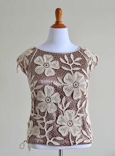 Irish Crochet Motifs Five Petals Flower and by OutstandingCrochet