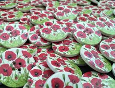 Poppy Field Large Wooden Buttons: Packs of 3, 6 or 8 buttons Christmas Buttons, Remembrance Day, Button Flowers, Button Art, Dressmaking, Decorative Items, Wedding Favors, Cardmaking, Poppies
