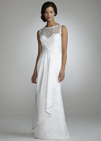 You will look elegant and timeless on your special day in this beautiful A line gown! Beaded floral applique adorn the soft, lace overlay bodice. A-line satin skirt features side drape detail and ruched waist for flattering shape. Available in White Fully lined. Back zip. Imported polyester. Dry clean only.A decorative fabric design or lace cutout that is applied to another fabric such as a dress, veil or shoes.A dress with a fitted bodice that gradually flares from the waist. A-line styles…