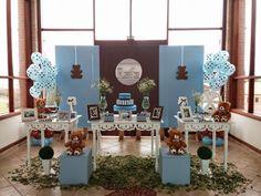 Momento Mágico Decorações : Ursos Marrom e Azul com Painel de tecido - Rafa