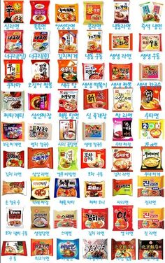 Some popular Korean Instant Noodles ( Ramyeon or Ramen) - Did you know there are over 100+ different Ramyeon in Korea?