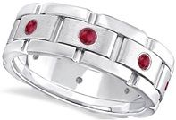 #Jewelry Mens Ruby Wedding Ring Wide Band Eternity 14kt White Gold