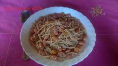 Soupe de petits spaghettis et haricots Borlotti frais Spaghetti, Or, Chicken, Ethnic Recipes, Beans Recipes, Conch, Strawberry Fruit, Dish, Kitchens